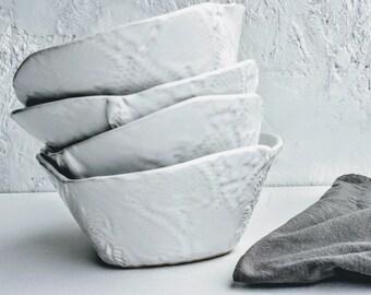 Ceramic Cereal Bowls, Soup Bowls, White dinnerware ceramic bowls, Tableware organic shaped Bowls