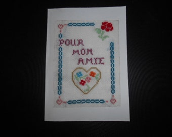 """Embroidered """"for my friend"""" card"""
