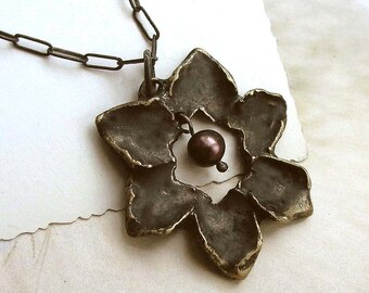 Flower Petal Necklace - Brass - Pearl - Black - Patina - Antiqued - Nature Inspired - Organic - Cottage Chic - Rustic - Flower Necklace