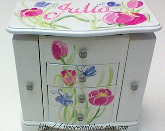musical jewelry box,Large white hanging jewelry box,four drawers,pink tulips,purple butterflies,Personalized,girl jewelry box,kids boxes