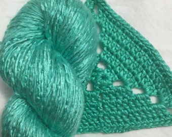 Silk Yarn Hand Dyed Worsted weight - Jade Green
