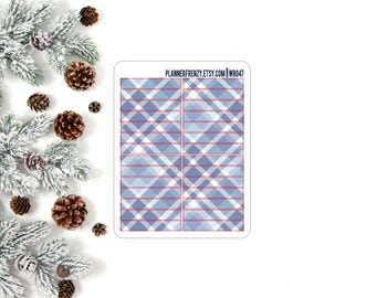 Blue Plaid Section Header Planner Stickers! WR047