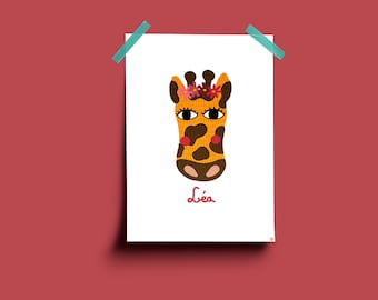 With personalized name giraffe illustration
