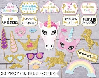 Unicorn Party, Photo Booth Props, Unicorn Birthday, Photobooth Props, Unicorn Props, Unicorn Baby Shower, Unicorn Photo Props, PDF
