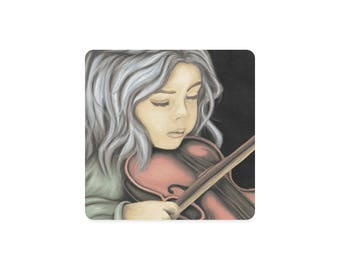 Under glass violin painting - portrait kids - girl violin - musician gift - gift violinist - coaster table free shipping