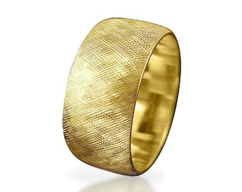 Wedding ring Yellow gold wedding ring Wide wedding band