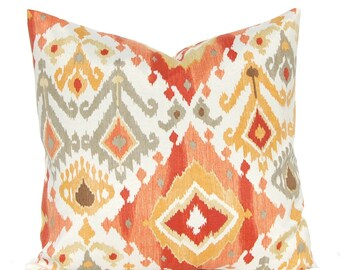 Outdoor Pillow Cover - Deep Coral, Rust and Gold - Ikat Pillow Cover - Patio Seating - Garden Decoration - Indoor Outdoor Pillow