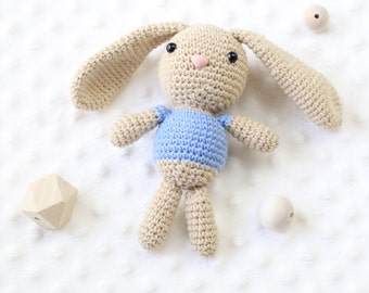 Cotton Bunny Plush Toy Cotton Bunny Amigurumi Rabbit Crochet Rabbit, Newborn Prop, Bunny Rabbit