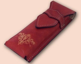 Leather pencil case Zg2 red