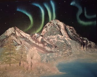 Majestic mountains - Aurora oil painting 16 x 20 inches canvas (Nature, Landscape)