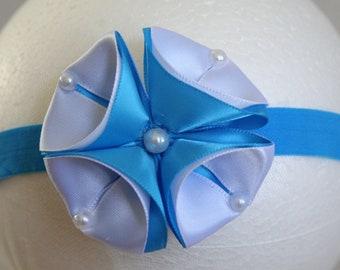 Blue and White Flower Headband