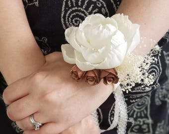 wooden flower corsage,  sola flower corsage,  peony corsage,  sola wood flower,  ivory corsage,  rustic corsage, mother of the bride