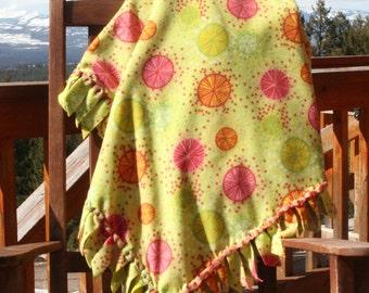 Fleece Blanket - Citrus Splash with Woven Edge