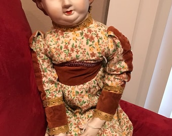 """Vintage Victorian 23"""" China Bed Doll"""