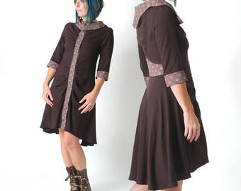 Dark brown dress, Supple shirt dress, Womens dresses, Fall fashion, High-low dress, Womens clothing, MALAM, size UK10