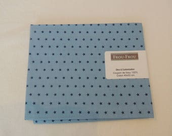 Cotton fabric blue patch Navy light blue stars pattern