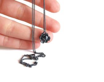 One Black Flower - sterling silver necklace - handmade jewelry - handmade necklace - silver jewelry - flower bracelet - black silver