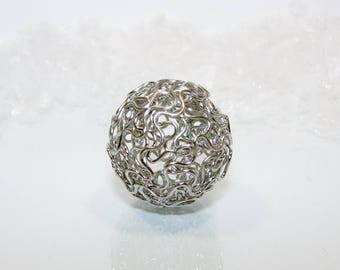 Pearl filigree hollowed oxidized silver, ball 24.00 millimeters. (5400009)