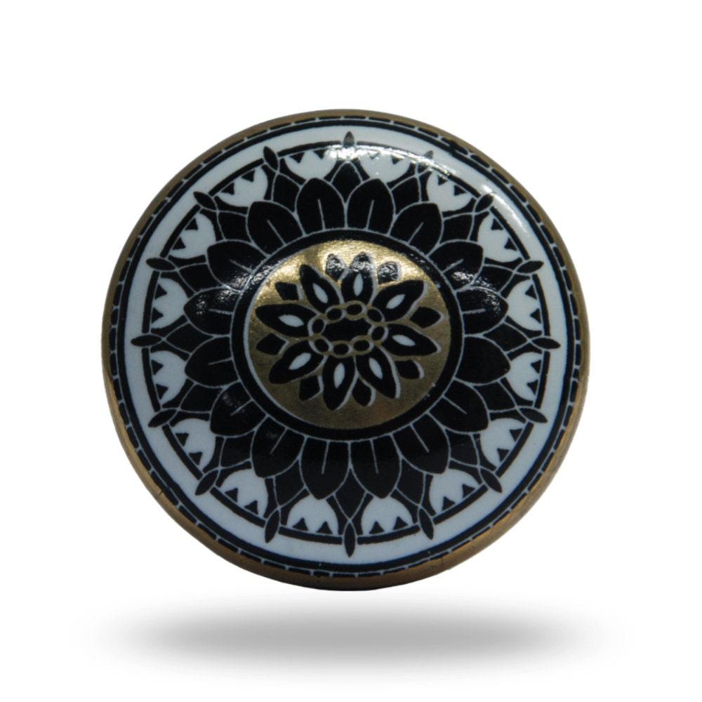 Decorative Jamil Ceramic Knob Round Black White And Gold