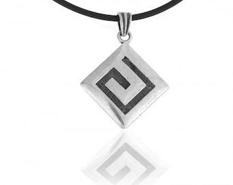 Greek Design Sterling Silver Pendant with Meander Pattern