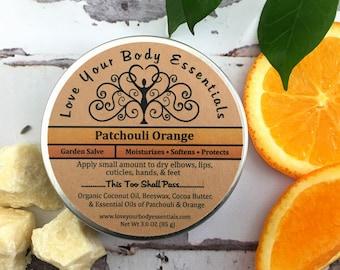 Organic healing salve patchouli  balm healing balm hand salve organic hand cream patchouli lotion skin repair cuticle cream yoga gift