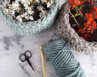 Quick and Easy Crochet Jute Basket Pattern
