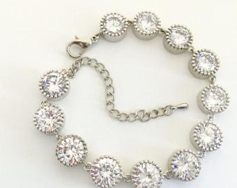 Luxury Bridal Cubic Zirconia Bracelet Wedding Clear Crystal Bracelet Rhodium Crystal Wedding Jewelry