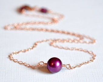 Rose Gold Choker Necklace, Real Freshwater Pearl, Mulberry Wine Burgundy, Autumn Jewelry, Free Shipping