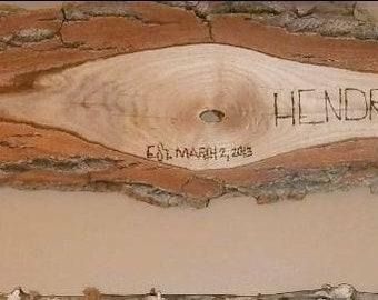 Hand Milled IN Hardwood Wood Burned Sign