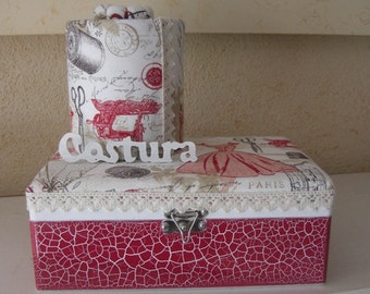 Set Sewing box and recycled tin