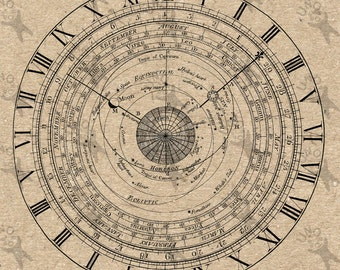 Vintage Image Clock Diagrams Zodiac Constellation astrology circle Instant Download Digital printable graphic fabric transfer etc HQ 300dpi