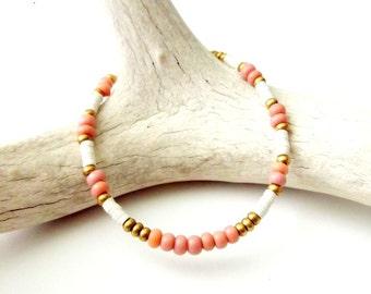 African Seed Bead Bracelet Tribal Bracelet Boho Jewelry - DUSTY ROSE PINK - Bohemian Jewelry Hippe Jewelry Tribal Jewelry Stackable Bracelet