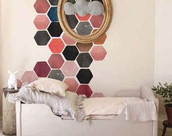 Watercolor Hexagon Wall Decal, Removable honeycomb decal, Hexagon stickers, Sticker set, Painted decal, Peel and stick, colorful  #46