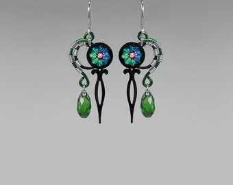 Swarovski Crystal Steampunk Earrings, Green Crystal Earrings, Vitrail Medium Swarovski, Iridescent crystal, Statement Earrings, Poine II v5