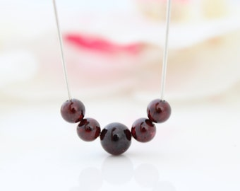 Garnet necklace • Silver necklace with garnet gemstone beads • January birthstone necklace