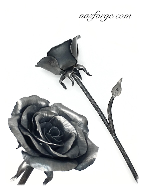 6th Year Anniversary Gift Iron Rose - 6 Years  Gift Idea - Sixth Year Gifts for Him or Her , Wife , Husband ,Metal Flower by Blacksmith Naz