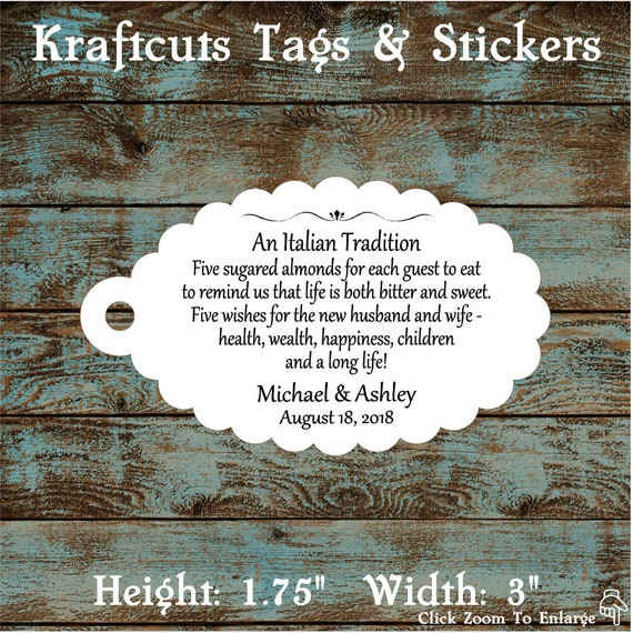 Favor Tags, Jordan Almond Favor Tags, Sugared Almond Favor Tags, Italian Wedding Favor Tags #760 - Qty: 30 Tags