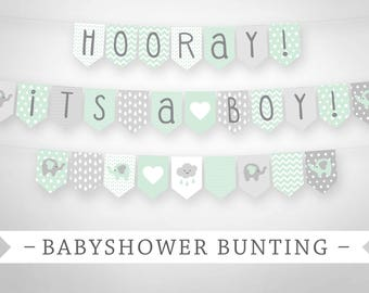 Premium Printable Bunting - Baby Shower Bunting Banner - Elephants - Mint and Grey - Instant Download - Full Alphabet
