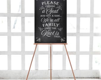 Wedding Sign - PRINTABLE Digital Download - Please Choose A Seat - Welcome Sign - Printable Wedding Ceremony Poster - Black And White