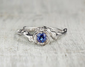 Blue Sapphire Engagement Ring. Nature Engagement Ring.  4mm Sapphire Ring. Mason Solitaire Ring. Yellow Gold, White Gold, Rose Gold.