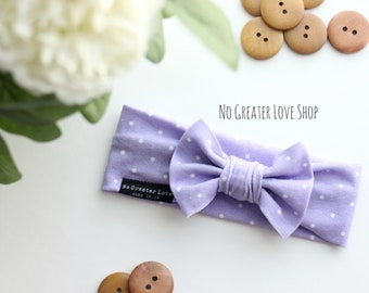 Lavender Pin Dots - Turban Headband - Bow Headband - Baby Bow - Baby Child Adult Sizes - Top Knot - Buy One Give One