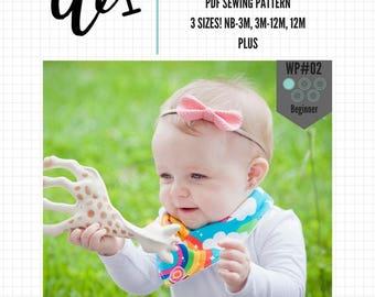 The Wibble Bandana Bib WP#02 PDF Sewing Pattern Tutorial - Dribble Bib, Drool Bib, Baby Scarf, Instant Download, DIY