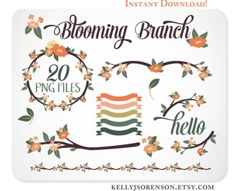 Blooming Branch Clipart in Orange, Banner Clipart, Blog Graphics, Web Graphics, Border - Instant Download