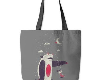 Sloth Tote Bag, Yeti Tote Bag, Monster, Helping Hand, Swing, Little Girl, Sweet Cute Bag, Poly Poplin, Made in USA