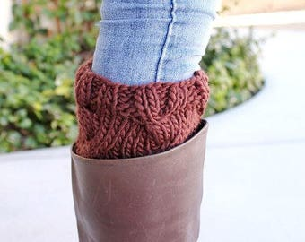Boot Cuffs, Knit Boot Socks, Chunky Boot Cuffs, Boot Socks, Knit Leg Warmers, Boot Accessories, Womens Accessories, Knitted Cuffs, Brown