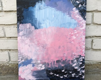 Knit / 16x20 Original Abstract Acrylic Painting on Canvas / pink / peach/ blue/ purple / lavender