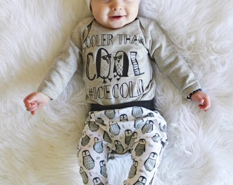 Cooler Than Cool Penguin Bodysuit Ice Cold Trendy Baby Collab Shirt Tee