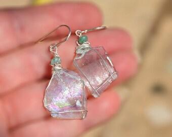 Roman Glass Jewelry Roman Glass Earrings Silver Earrings Thin Transparent Roman Glass Earring Roman Glass from Israel Handmade Free Shipping
