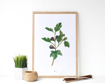 Fig Botanical Print, Fig print, Botanical Print, Kitchen decor, Kitchen Wall Art, Fruit wall art, Greenery Decor, Housewarming gift idea.
