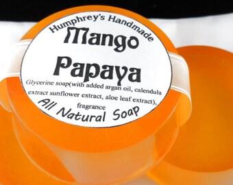 MANGO PAPAYA soap, Tropical Shave & Shampoo Soap, Round Soap Puck, Mango Papaya Scent, All In One Soap